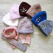 Одежда для кукол ручной работы. Ярмарка Мастеров - ручная работа Комплект для кукол шапка+шарф+варежки. Handmade.