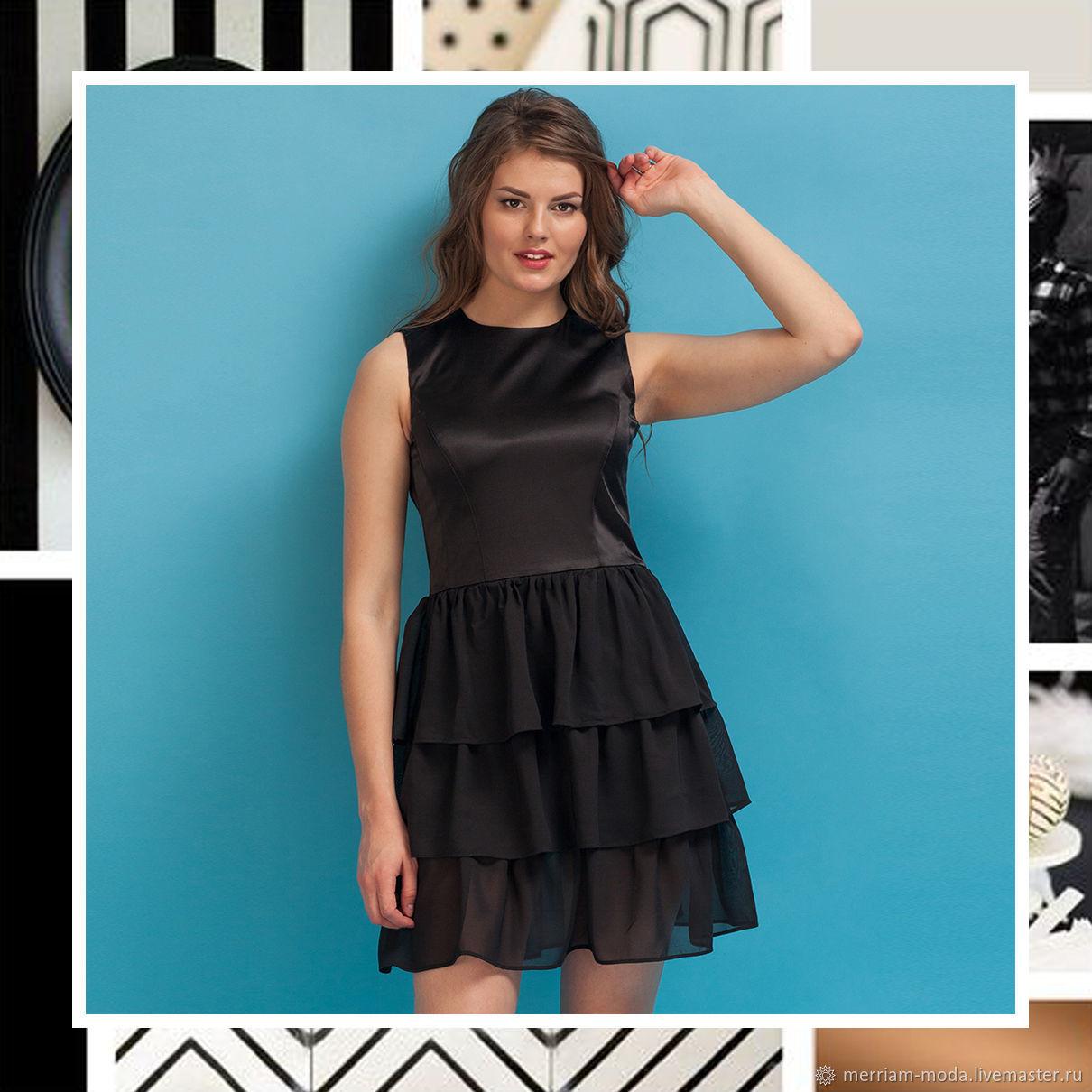 """Платья ручной работы. Ярмарка Мастеров - ручная работа. Купить Платье """"Эмили"""". Handmade. Черный, платье для вечеринки, атлас стрейч"""