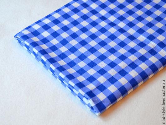 Шитье ручной работы. Ярмарка Мастеров - ручная работа. Купить Ткань хлопок в клеточку, синий. Handmade. Синий, клетчатая ткань