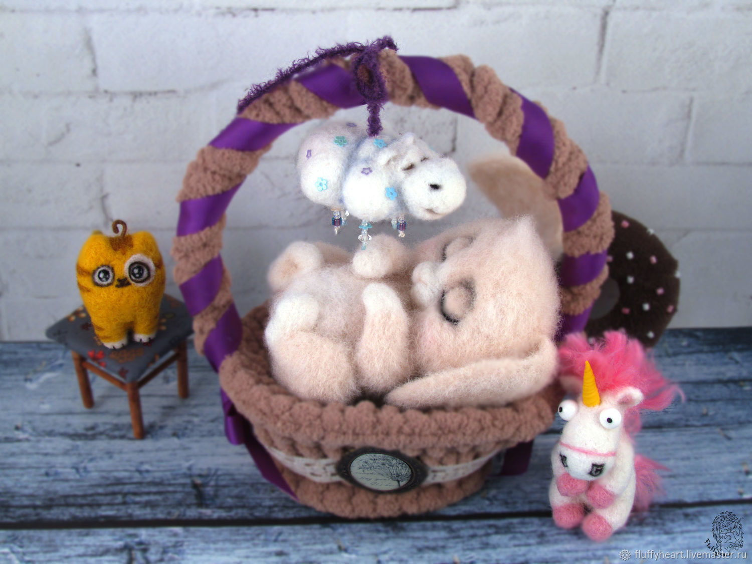 Bunny-an owl in a basket, Stuffed Toys, St. Petersburg,  Фото №1