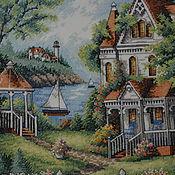 Картины и панно ручной работы. Ярмарка Мастеров - ручная работа Вышивка крестом Райское место ( Cove Haven Inn ). Handmade.