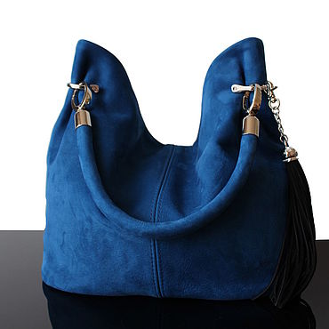Bags and accessories handmade. Livemaster - original item Blue Cobalt blue suede bag with short handle. Handmade.