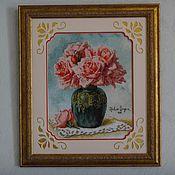 """Картины и панно ручной работы. Ярмарка Мастеров - ручная работа Картина """"Розы в вазе"""". Handmade."""