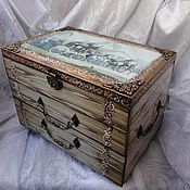 Для дома и интерьера handmade. Livemaster - original item Journey chest of drawers, decoupage. Handmade.