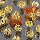 Шапочки для бусин Ажурные колокольчики для использования в сборке украшений комплектами по 50 штук