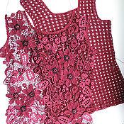 Одежда handmade. Livemaster - original item Top lace crochet Irish lace combo MARSALA. Handmade.