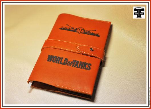 Ежедневники ручной работы. Ярмарка Мастеров - ручная работа. Купить Ежедневник кожа World Of Tanks. Handmade. Рыжий
