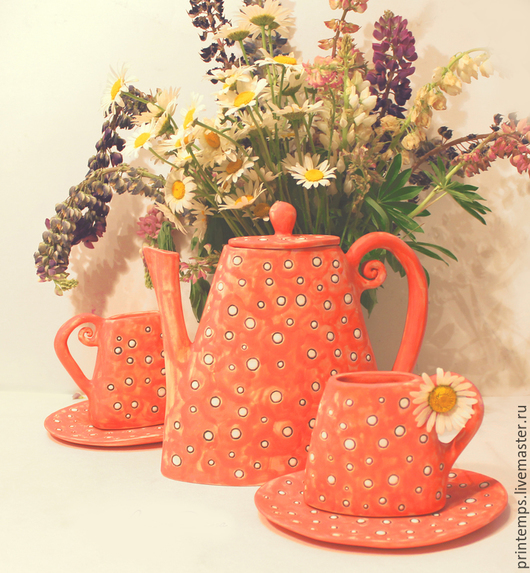 Сервизы, чайные пары ручной работы. Ярмарка Мастеров - ручная работа. Купить Сервиз Летний чай. Handmade. Ярко-красный