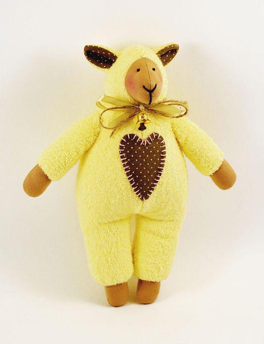 Куклы Тильды ручной работы. Ярмарка Мастеров - ручная работа. Купить Овечка тильда, махровая. Handmade. Желтый, овечка в подарок