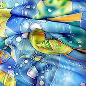 """Аксессуары ручной работы. Ярмарка Мастеров - ручная работа Шелковый шарф """"МОХИТО"""". Батик.. Handmade."""