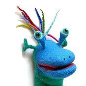 Мягкие игрушки ручной работы. Ярмарка Мастеров - ручная работа Сине-зеленый инопланетянин, перчаточная кукла для кукольного театра.. Handmade.