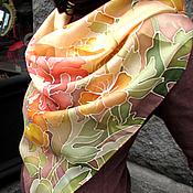 """Аксессуары ручной работы. Ярмарка Мастеров - ручная работа Батик платок """"Аромат пиона"""". Handmade."""