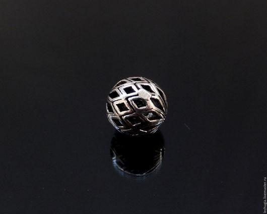 """Для украшений ручной работы. Ярмарка Мастеров - ручная работа. Купить Бусина из серебра """"Рифленая"""" /шарик, 10 мм/. Handmade."""