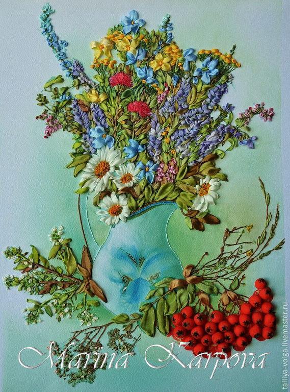 Вышивка лентами. Картина «Полевые цветы». Часть 1 60