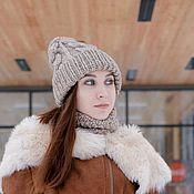 Шапки ручной работы. Ярмарка Мастеров - ручная работа Вязаная шапка и снуд зимние. Handmade.