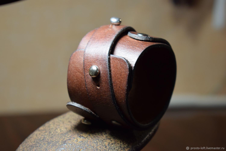Браслет-напульсник кожаный, Браслет для шармов, Кострома,  Фото №1