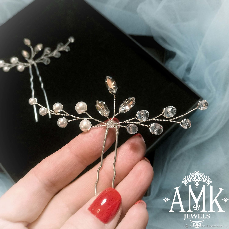 Wedding hair pins, bridal hair pins, bridesmaid hair pins, Украшения в прическу, Раменское,  Фото №1