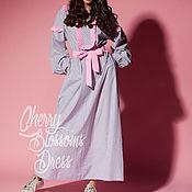 Одежда ручной работы. Ярмарка Мастеров - ручная работа Серое летнее длинное бохо макси платье из хлопка, большие размеры. Handmade.