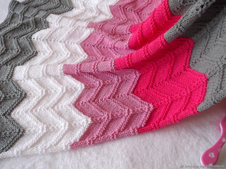 Вязаный плед из хлопка для новорожденной девочки Розовая волна, Детские пледы, Уфа,  Фото №1