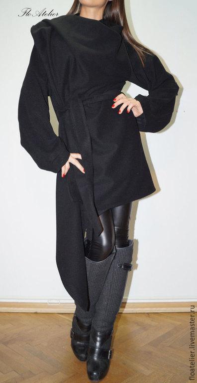 Верхняя одежда ручной работы. Ярмарка Мастеров - ручная работа. Купить Черное длинное зимное  пальто из шерсти/F1399. Handmade. Черный