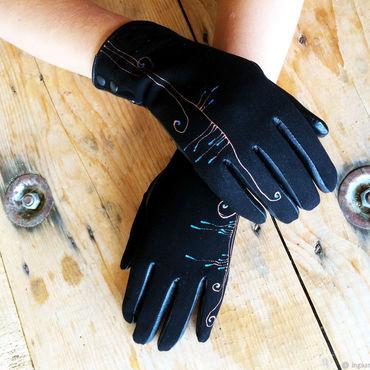 "Accessories handmade. Livemaster - original item Black suede leather gloves.""Grass blade song "" Size 8. Handmade."