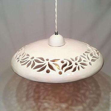Для дома и интерьера ручной работы. Ярмарка Мастеров - ручная работа Большая резная керамическая люстра (диаметр 45 см). Handmade.