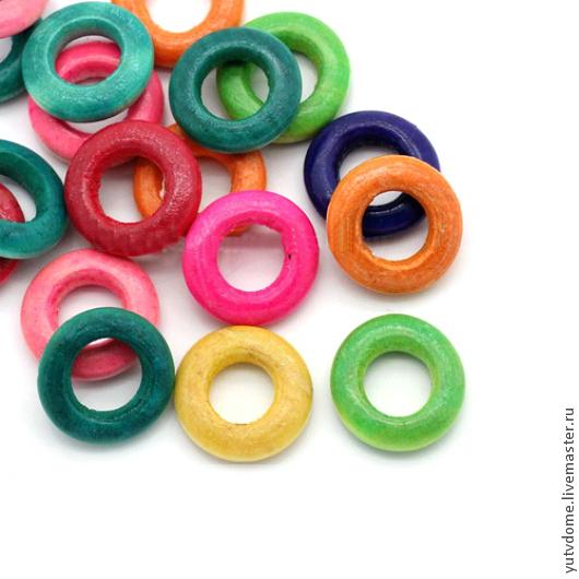 Для украшений ручной работы. Ярмарка Мастеров - ручная работа. Купить 0742 Деревянные бусины колечки для развивающих игрушек. Handmade.