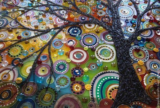Фантазийные сюжеты ручной работы. Ярмарка Мастеров - ручная работа. Купить Картина на стекле Дерево (витражная картина). Handmade.