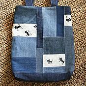 Сумки и аксессуары ручной работы. Ярмарка Мастеров - ручная работа Джинсовая сумка с котами. Handmade.
