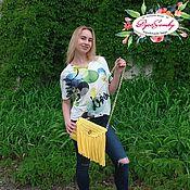 Сумки и аксессуары ручной работы. Ярмарка Мастеров - ручная работа Жёлтая сумка кросс-боди с бахромой. Handmade.