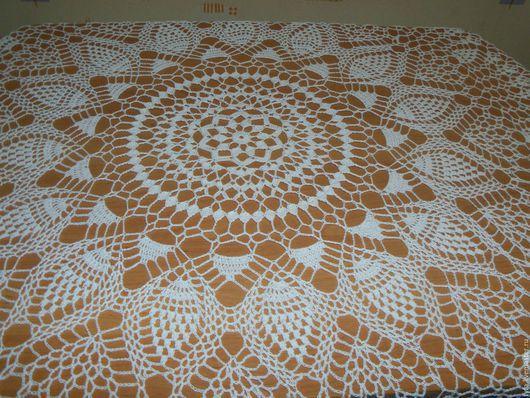 Текстиль, ковры ручной работы. Ярмарка Мастеров - ручная работа. Купить Скатерть белая ананасы. Handmade. Белый, скатерть круглая