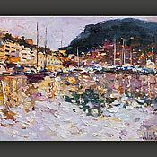"""Картины и панно handmade. Livemaster - original item """"Яхты в бухте Монако"""". Морской пейзаж маслом. Handmade."""