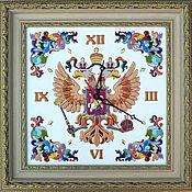 Для дома и интерьера handmade. Livemaster - original item Wall clock with symbols of Russia decorative,ceramic Coat. Handmade.