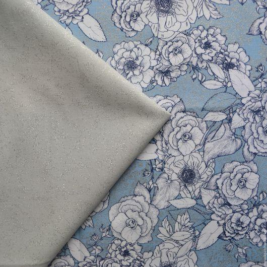 """Шитье ручной работы. Ярмарка Мастеров - ручная работа. Купить Набор хлопка для пэчворка """"Белые цветы на голубом"""". Америка. Handmade."""