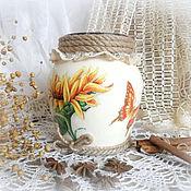 Для дома и интерьера ручной работы. Ярмарка Мастеров - ручная работа Ваза для цветов Подсолнух. Handmade.