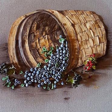 Картины и панно ручной работы. Ярмарка Мастеров - ручная работа Картина Корзинка с голубикой. Handmade.