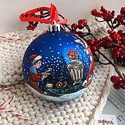 handmade. Livemaster - original item Balloon on the Christmas tree 10 cm with hand-painted