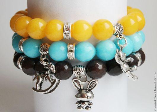 """Браслеты ручной работы. Ярмарка Мастеров - ручная работа. Купить Комплект браслетов """"Сказка"""". Handmade. Голубой, браслет, браслет на руку"""