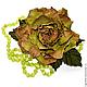 Брошь из кожи  Роза Лесная нимфа