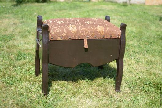 Мебель ручной работы. Ярмарка Мастеров - ручная работа. Купить Деревянный пуфик. Handmade. Пуфик, деревянные аксессуары, Ткань обивочная