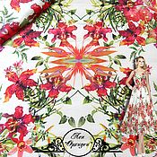 "Материалы для творчества handmade. Livemaster - original item Лен Blumarine ""Орхидеи"" итальянские ткани. Handmade."