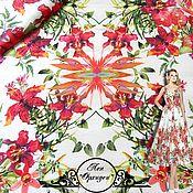 """Ткани ручной работы. Ярмарка Мастеров - ручная работа Лен Blumarine """"Орхидеи"""" итальянские ткани. Handmade."""