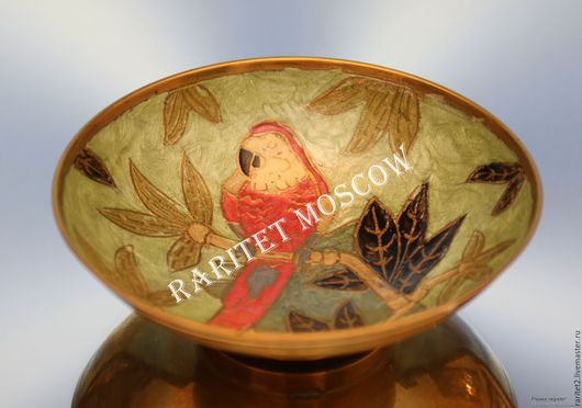 Винтажная посуда. Ярмарка Мастеров - ручная работа. Купить Ваза конфетница птица латунь эмаль Англия 14. Handmade. Разноцветный