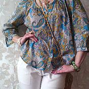 """Одежда ручной работы. Ярмарка Мастеров - ручная работа Хлопковая блузка """"Бирюза. Handmade."""
