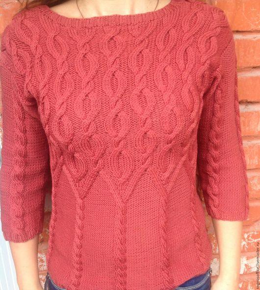 Повседневный свитер с рельефными косами. Ксенья