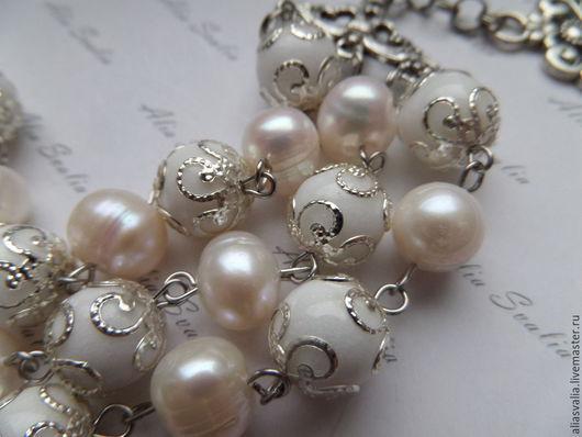 """Браслеты ручной работы. Ярмарка Мастеров - ручная работа. Купить Браслет агат и жемчуг """"Anju perle"""". Handmade. Белый, жемчуг"""