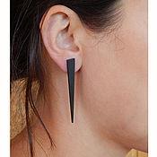 Украшения handmade. Livemaster - original item Stylish earrings made of black wood. Handmade.