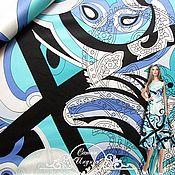 """Материалы для творчества handmade. Livemaster - original item Сатин Emilio Pucci """"Индиго"""" итальянские ткани. Handmade."""