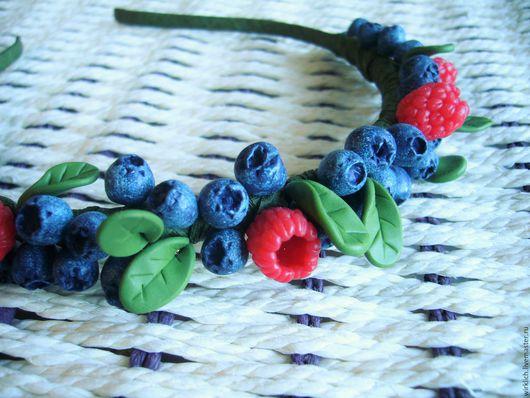 Диадемы, обручи ручной работы. Ярмарка Мастеров - ручная работа. Купить Ягодный ободок Вечное лето черника малина черничный красный синий. Handmade.