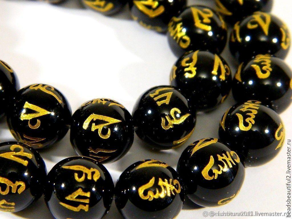 Black agate with hieroglyph, Tibetan beads. for PCs, Beads1, Saratov,  Фото №1